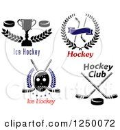 Clipart Of Ice Hockey Designs With Text Royalty Free Vector Illustration