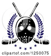 Clipart Of A Black And White Hockey Mask With Sticks And Blue Stars And Laurels Royalty Free Vector Illustration