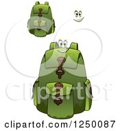 Clipart Of Green Backpacks Royalty Free Vector Illustration