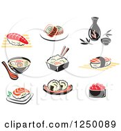Clipart Of Sushi Soup And Asian Cuisine Royalty Free Vector Illustration