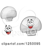 Clipart Of Button Mushrooms Royalty Free Vector Illustration