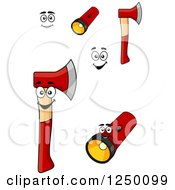 Clipart Of Flashlights And Axes Royalty Free Vector Illustration