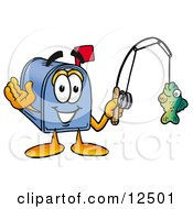 Clipart Picture Of A Blue Postal Mailbox Cartoon Character Holding A Fish On A Fishing Pole
