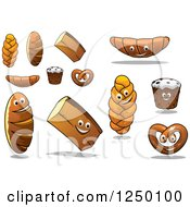 Clipart Of Happy Baked Goods Royalty Free Vector Illustration
