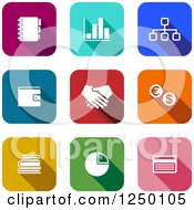 Clipart Of Colorful Square Finance Icons Royalty Free Vector Illustration