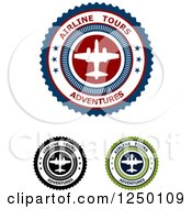 Clipart Of Airline Tours Adventures Labels Royalty Free Vector Illustration