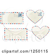 Clipart Of Air Mail Envelopes In Traditional And Heart Shapes Royalty Free Vector Illustration