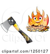Clipart Of Axe And Fire Characters Royalty Free Vector Illustration