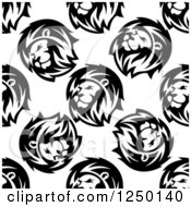 Seamless Background Pattern Of Lions In Black And White