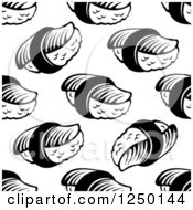 Clipart Of A Seamless Background Pattern Of Sushi In Black And White Royalty Free Vector Illustration