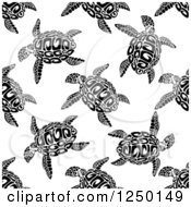 Clipart Of A Seamless Background Pattern Of Sea Turtles Royalty Free Vector Illustration by Vector Tradition SM