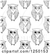 Clipart Of A Seamless Background Pattern Of Black And White Owls Royalty Free Vector Illustration