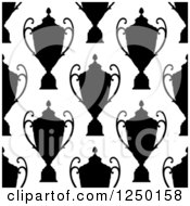 Clipart Of A Seamless Background Pattern Of Silhouetted Trophies Royalty Free Vector Illustration