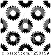 Clipart Of A Seamless Background Pattern Of Black And White Gear Cogs Royalty Free Vector Illustration