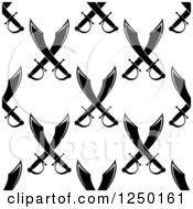 Clipart Of A Seamless Background Pattern Of Black And White Crossed Swords Royalty Free Vector Illustration