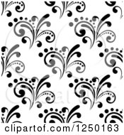 Clipart Of A Seamless Background Pattern Of Black And White Flourishes 3 Royalty Free Vector Illustration