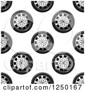 Clipart Of A Seamless Background Pattern Of Tires Ad Rims Royalty Free Vector Illustration by Vector Tradition SM