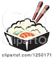 Clipart Of A Bowl Of Rice And Seafood Royalty Free Vector Illustration