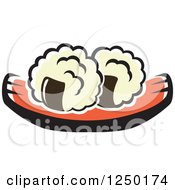 Clipart Of Sushi And Rice Royalty Free Vector Illustration