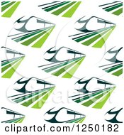 Clipart Of A Seamless Background Pattern Of Green Trains Royalty Free Vector Illustration by Seamartini Graphics
