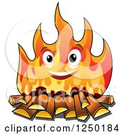 Clipart Of A Happy Campfire Character Royalty Free Vector Illustration