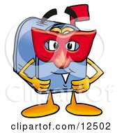 Clipart Picture Of A Blue Postal Mailbox Cartoon Character Wearing A Red Mask Over His Face by Toons4Biz