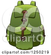 Clipart Of A Green Backpack Royalty Free Vector Illustration