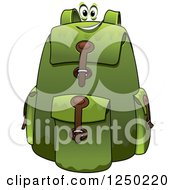 Clipart Of A Green Backpack Character Royalty Free Vector Illustration
