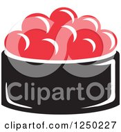 Clipart Of A Bowl Of Caviar Royalty Free Vector Illustration