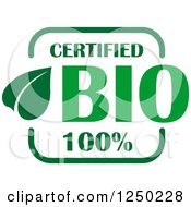 Clipart Of A Green Certified Bio Icon Royalty Free Vector Illustration