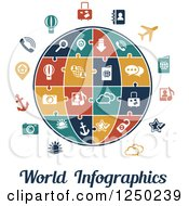 Clipart Of A Globe With Puzzle Piece Icons And World Infographics Text Royalty Free Vector Illustration by Vector Tradition SM