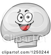 Clipart Of A Button Mushroom Character Royalty Free Vector Illustration