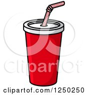 Clipart Of A Fountain Soda Cup Royalty Free Vector Illustration