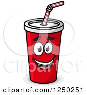 Clipart Of A Fountain Soda Cup Character Royalty Free Vector Illustration