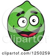 Clipart Of A Green Lime Character Royalty Free Vector Illustration