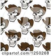 Seamless Background Pattern Of Cowboy Skulls