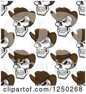 Poster, Art Print Of Seamless Background Pattern Of Cowboy Skulls