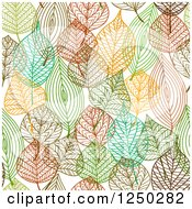 Clipart Of A Seamless Background Pattern Of Autumn Leaves Royalty Free Vector Illustration
