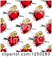 Clipart Of A Seamless Background Pattern Of Arrows Through Flaming Hearts Royalty Free Vector Illustration by Vector Tradition SM