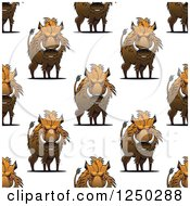 Clipart Of A Seamless Background Pattern Of Razorback Boars Royalty Free Vector Illustration by Vector Tradition SM