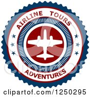 Clipart Of An Airline Tours Adventures Label Royalty Free Vector Illustration