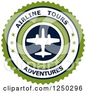 Clipart Of A Green Airline Tours Adventures Label Royalty Free Vector Illustration