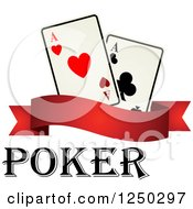 Clipart Of Poker Text With A Banner And Playing Cards Royalty Free Vector Illustration
