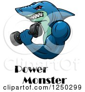 Clipart Of A Shark Working Out And Power Monster Text Royalty Free Vector Illustration