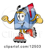 Blue Postal Mailbox Cartoon Character Roller Blading On Inline Skates