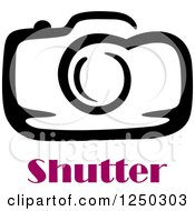 Clipart Of A Camera With Shutter Text Royalty Free Vector Illustration by Vector Tradition SM
