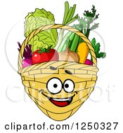 Clipart Of A Basket Full Of Produce Character Royalty Free Vector Illustration