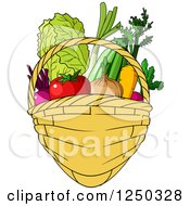 Clipart Of A Basket Full Of Produce Royalty Free Vector Illustration