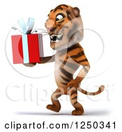 Clipart Of A 3d Tiger Walking And Holding A Present 2 Royalty Free Illustration