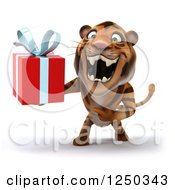 Clipart Of A 3d Tiger Roaring And Holding A Present Royalty Free Illustration